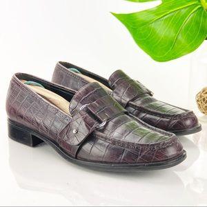 Franco Sarto Croc Monk Loafer Plum Purple Leather